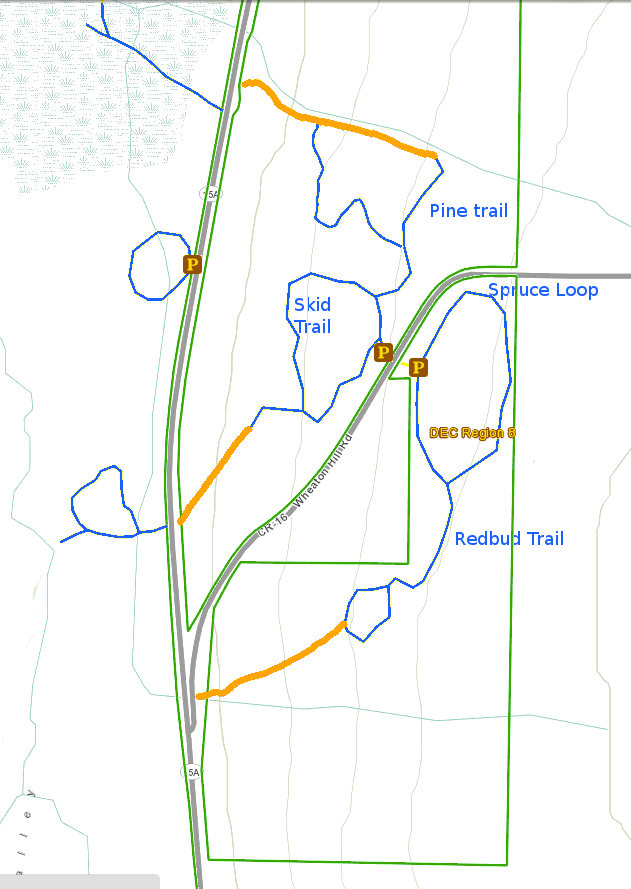 The four trails at Wheaton Hill.  Orange lines represent potential future trails in the Springwater Trail.