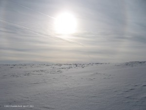 The summer sun on the way across Antarctica to the South Pole.