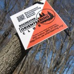 Just one of the 24 control markers on the Permanent Orienteering Course at Durand Eastman.