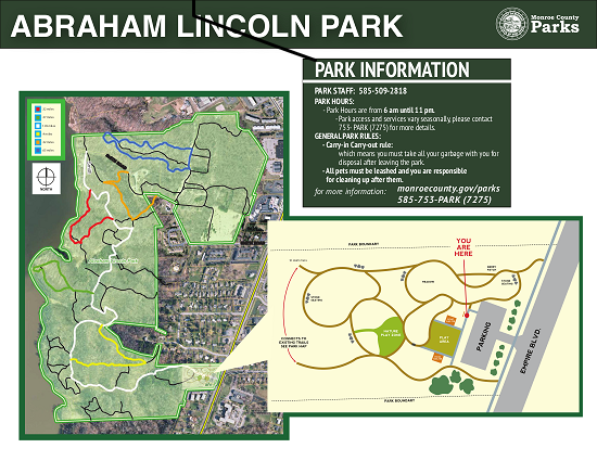 Map of trails in Abraham Lincoln Park